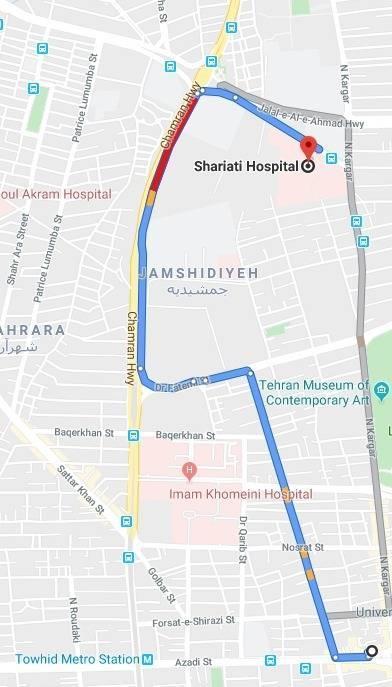 آدرس بیمارستان شریعتی تهران با مترو و اتوبوس
