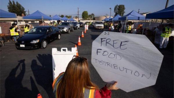 هجوم به بانک های غذا در آمریکا، صف 1.6 کیلومتری خودروها برای دریافت یاری
