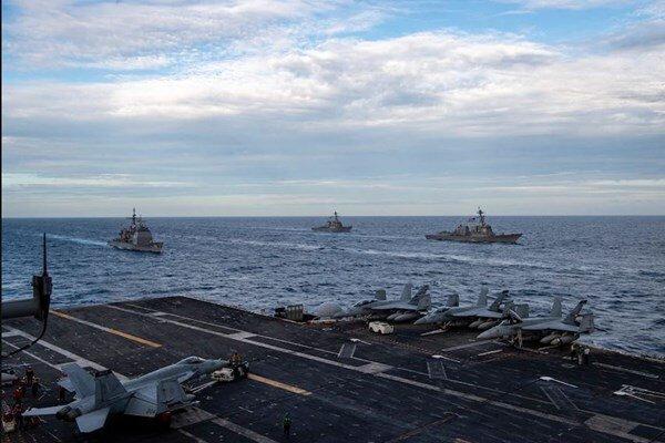 2 ناوگروه تهاجمی آمریکا در دریای چین جنوبی رزمایش برگزار کردند