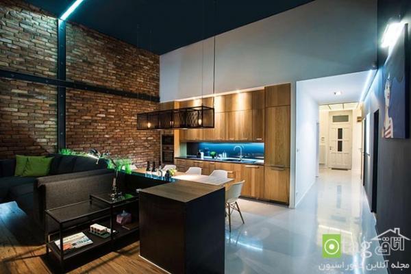 استدیو آپارتمان مدرن و صنعتی با چیدمانی بسیار شیک و ساده